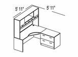 "Bush C Series Corsa Medium Cherry Design 3 - Plan For 5' 11"" x 5' 11"" Work Station"