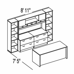 "Bush C Series Corsa Medium Cherry Design 37 - Plan For 7' 5"" x 8' 11"" Work Station"