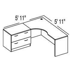 "Bush C Series Corsa Medium Cherry Design 4 - Plan For 5' 11"" x 5' 11"" Work Station"