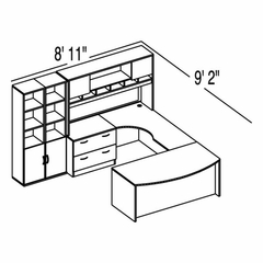 "Bush C Series Corsa Medium Cherry Design 41 - Plan For 8' 11"" x 9' 2"" Work Station"