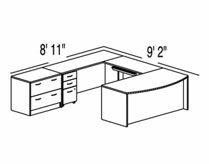 "Bush C Series Corsa Medium Cherry Design 43 - Plan For 8' 11"" x 9' 2"" Work Station"