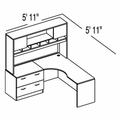 "Bush C Series Corsa Medium Cherry Design 5 - Plan For 5' 11"" x 5' 11"" Work Station"