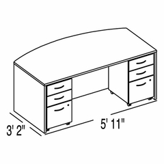 "Bush C Series Corsa Mocha Cherry Design 1 - Plan For 3' 2"" x 5' 11"" Work Station"
