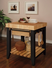 Butcher Block Kitchen Island - Color Story Black - Powell Furniture - 502-416