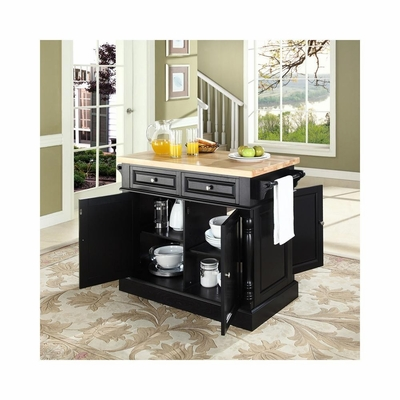 Butcher Block Top Kitchen Island in Black - CROSLEY-KF30006BK