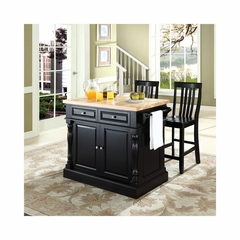 "Butcher Block Top Kitchen Island in Black with 24"" School House Stools - CROSLEY-KF300062BK"