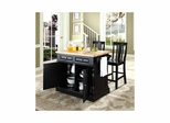 "Butcher Block Top Kitchen Island in Black with 24"" Shield Back Stools - CROSLEY-KF300061BK"