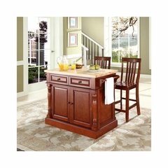 "Butcher Block Top Kitchen Island in Cherry with 24"" School House Stools - CROSLEY-KF300062CH"