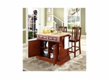 "Butcher Block Top Kitchen Island in Cherry with 24"" Shield Back Stools - CROSLEY-KF300061CH"