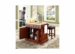 "Butcher Block Top Kitchen Island in Cherry with 24"" Square Seat Stools - CROSLEY-KF300065CH"