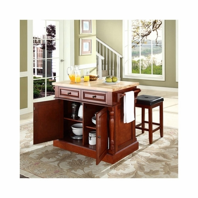 Butcher Block Top Kitchen Island in Cherry with 24