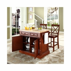"Butcher Block Top Kitchen Island in Cherry with 24"" X-Back Stools - CROSLEY-KF300063CH"