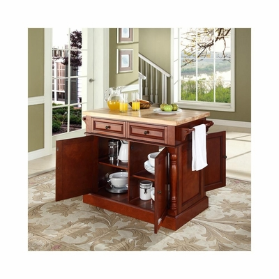 Butcher Block Top Kitchen Island in Classic Cherry - CROSLEY-KF30006CH