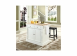 "Butcher Block Top Kitchen Island in White with 24"" Black Saddle Stools - CROSLEY-KF300064WH"