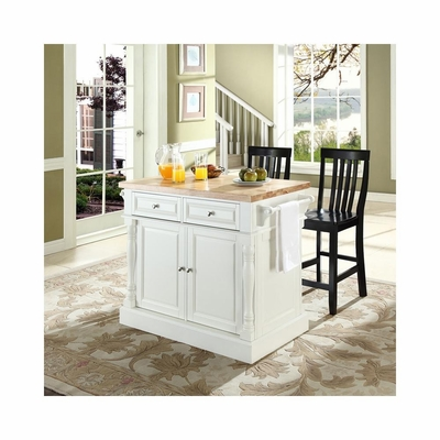 Butcher Block Top Kitchen Island in White with 24