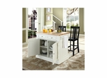 "Butcher Block Top Kitchen Island in White with 24"" Black Shield Back Stools - CROSLEY-KF300061WH"