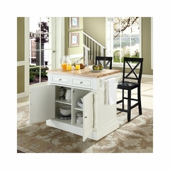 "Butcher Block Top Kitchen Island in White with 24"" Black X-Back Stools - CROSLEY-KF300063WH"