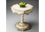 Butler Alabaster Carved Twist Pedestal Octagonal Accent Table