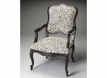 Butler Black Licorice Zebra Pattern Accent Chair