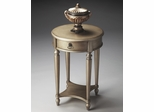 Butler Brushed Pewter Hand-painted Antique Finish Accent Table