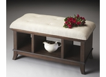 Butler Cocoa Cushion Top Three Compartment Storage Bench