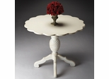 Butler Cottage White Scalloped Top and Twist Pedestal Foyer Table