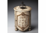 Butler Guilded Cream Drum Table with Floral Abstracts and Classical Motifs