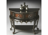 Butler Heritage Two-tone Black and Mahogany Demilune Console Table