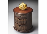 Butler Loft with Two Pull-out Abaca Storage Baskets Drum Table