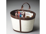 Butler Modern Expressions Chestnut Leather Trim Magazine Basket