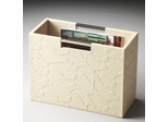 Butler Modern Expressions Cream Leather Embossed Magazine Basket