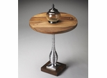 Butler Modern Expressions Polished Metal and Sheesham Pedestal Table