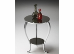 Butler Nickel Finish with Black Mirror Glass Accent Table