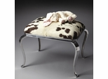 Butler Nickel Plated Cabriole Legs and Genuine Cowhide Seat Ottoman