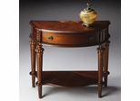 Butler Nutmeg Console Table with Distinctive Top Linen-fold Inlay