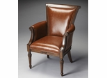 Butler Nutmeg Corner Block Brown Bi-Cast Leather Accent Chair