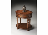 Butler Olive Ash Burl Single Drawer Oval Accent Table