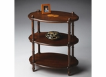 Butler Plantation Cherry With Linen-fold Inlay Top Oval Accent Table