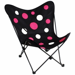 Butterfly Chair Black/Pink Dots - LumiSource - CHR-BFDOT-BK-PK