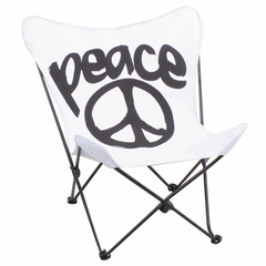 Butterfly Chair Black/White Peace - LumiSource - CHR-BFPC-W-BK