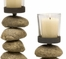 Cairn Candleholders with Glass Votive Cup (Set of 3) - IMAX - 9504-3