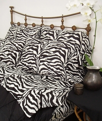 Cal King Bed Sheet Set - Wild Life 200TC Cotton Sateen in Black / White Zebra Print - 100CCBWLZEBR