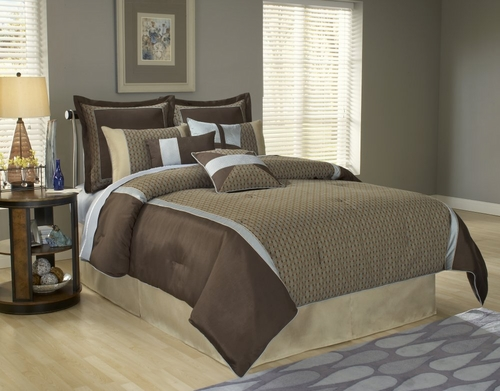 Cal King Size Comforter Set - 14 Piece Set in Stockton Pattern - 82EQ714STK