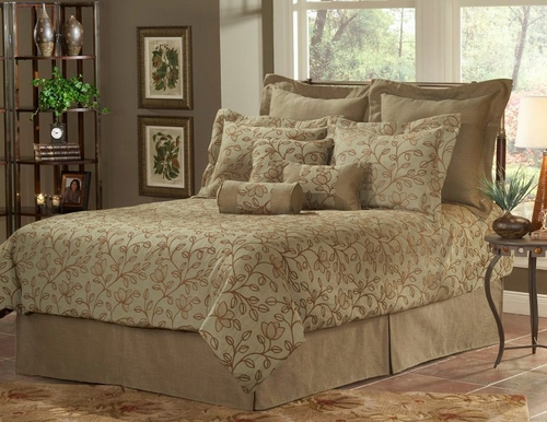 Cal King Size Comforter Set - 14-Piece Super Pack in Grayson Pattern - 80EQ714GRY