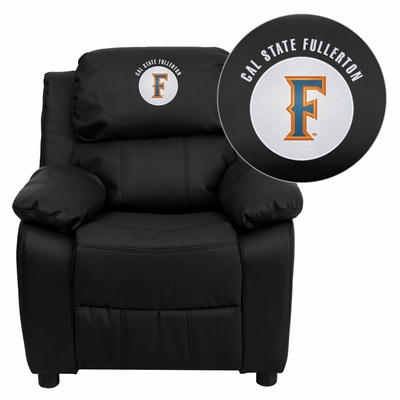 Cal State Fullerton Titans Embroidered Leather Kids Recliner - BT-7985-KID-BK-LEA-45004-EMB-GG