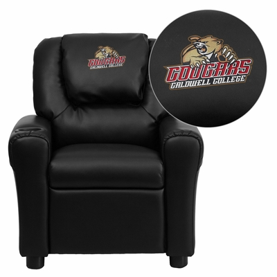 Caldwell College Embroidered Black Kids Recliner - DG-ULT-KID-BK-41012-EMB-GG