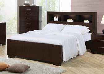 California King Size Bed - Jessica California King Size Bed in Light Cappuccino - Coaster - 200719KW