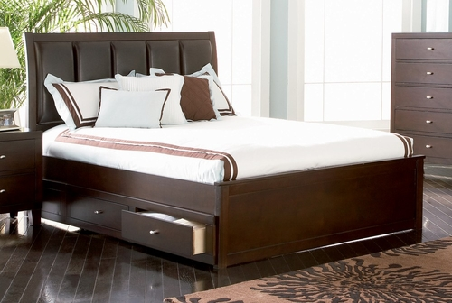 California King Size Bed - Lorretta California King Size Bed with Underbed Storage Drawers in Deep Brown - Coaster - 201511KW-SET