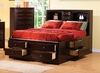 California King Size Bed - Phoenix California King Size Bookcase Chest Bed in Rich Deep Cappuccino - Coaster - 200409KW