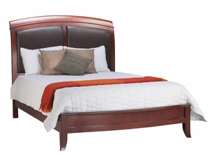 California King Size Sleigh Low Profile Bed with Leather Headboard - Brighton - Modus Furniture - BR15L6